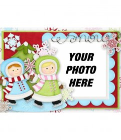Illustrated Christmas card with two girls playing to decorate your photo