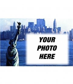 Customizable with your picture postcard with an old photograph of the Statue of Liberty and New York City background. Blue