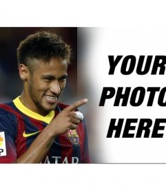Neymar Jr. photomontage with the football player pointing and smiling at the photograph that you upload