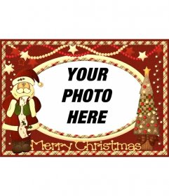 Vintage Christmas card with Santa Claus to put your picture