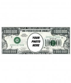 Photomontage to add a face to a bill of a million dollars