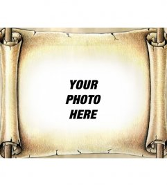 Photo montage put your photo on an ancient papyrus. Give your photos a special effect