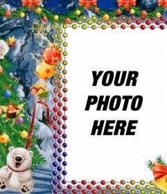 Put your photo on this Christmas frame with panda bears
