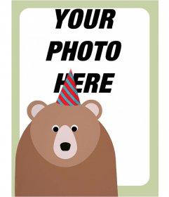 Birthday photo frame with a bear