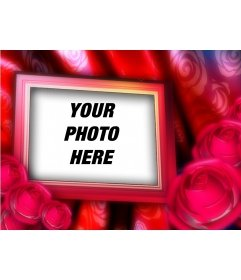 Valentine postcard with your picture to the background, border frame with red roses