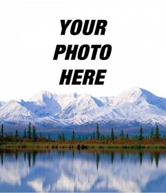 Add your photo on a snowy mountain with this online effect