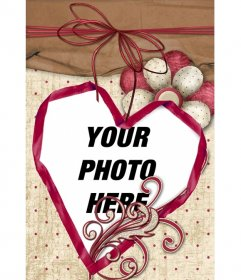 Card with craft style to add your photo in a heart