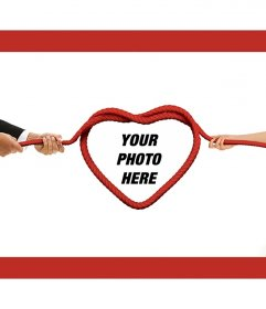 Love photomontage to put a photo on a heart rope