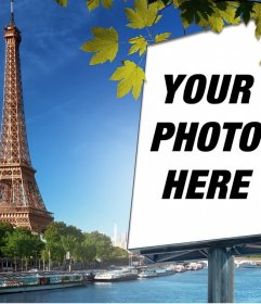 Photomontage with the city of Paris and the Eiffel tower on background to put your picture on a billboard