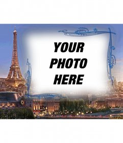 Photo frame with background Paris, the city of love to make with a picture