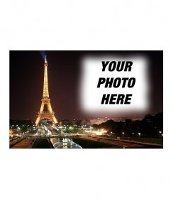 Put your picture in the background of a postcard of the Eiffel Tower and Paris in the background