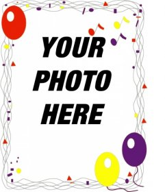 Photo frame with party and balloons decorations for a birthday greeting