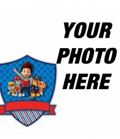 Editable frame with the shield of the animated series Paw Patrol