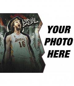 Photomontage with basketball player Pau Gasol
