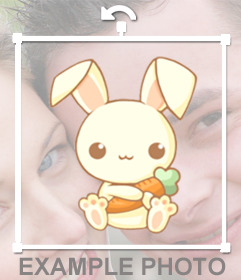 Drawing bunny sticker holding a carrot, so adorable