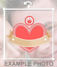 Sticker with a crowned heart with a ribbon wrapped wreath for your texts