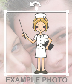 Sticker of a nurse drawing to stamp on your photographs