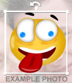 Sticker for photos of a crazy smiley sticking his tongue