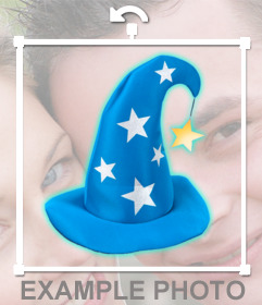 "Sticker of a blue wizard""s hat with silver stars"