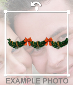 Decorate your photos with Christmas wreaths with red ribbons and bells