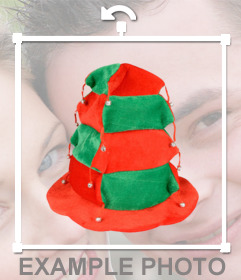 Sticker festive hat with bells and red and green boxes