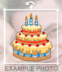 Sticker with vanilla birthday cake, cherries and candles