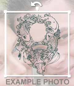 Effect tattoo sticker with kois and decorations to paste your photos