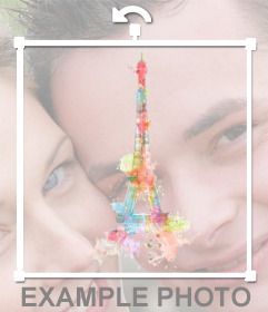 Sticker with a picture of the Eiffel Tower