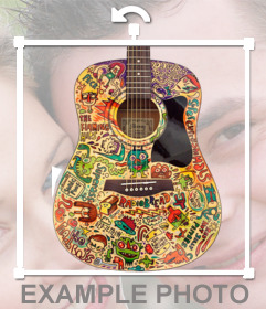 Colorful sticker if a guitar with your photo
