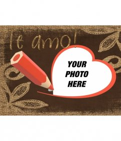 Postcard with I love you text drawn with pen and and a red heart-shaped