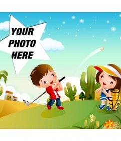 Stellar Golf on this postcard for children with a star-shaped frame