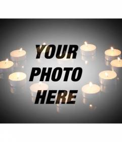 Love photomontage to add a picture with candles forming a heart on black background