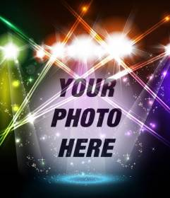 Photomontage of musical stage with colored lights with your photo