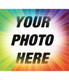 Photo filter with rainbow rays gradient to place your photo and add text online for free