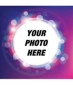 Photo frame with shiny purple and lilac sparkle with circular shape to place your photo and add text for free