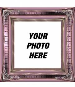 Digital photo frame with pink metallic shiny ornaments to decorate your pictures online