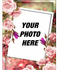 Photo frame with roses around and a blurred pink and green background to personalize with photo and text
