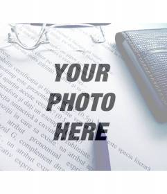 Photo Filter of an image with text, pen, glasses and wallet to overlay on your photos