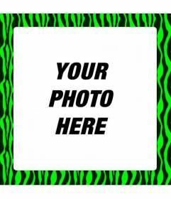 Neon green zebra-print frame to decorate your digital photos