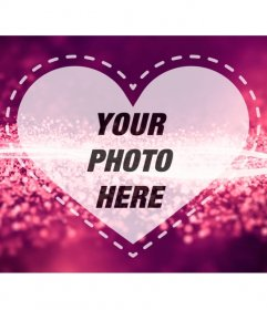 Romantic Picture Frame with a heart on a pink background with bright diamond waves to upload a photo