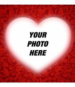 Romantic card with a heart to customize your photo with a red frame and add text