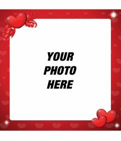 Photo frame of love to decorate your photo with red hearts
