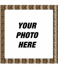 Frame to decorate photos with  snake animal print in brown scale