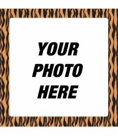 Photo frame to create photomontages adding an orange and black tiger print frame