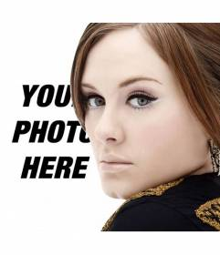 Photomontage with singer Adele in which you can get a picture with her portrait and yours and add text