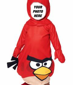 Create a fun photomontage of an Angry Bird costume to put a face