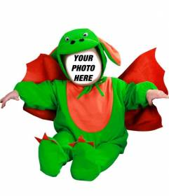 Photomontage to edit a green dragon costume with your photo