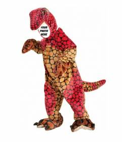 Create photomontages with this photograph of a child dressed in an orange dinosaur