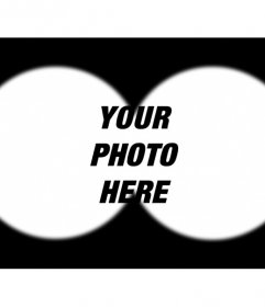 Photomontage that simulates a binocular view picture where you can upload any photo from your computer