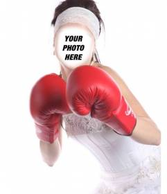 Photomontage of a female boxer bride to put your face for free